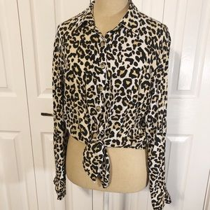 Style Envy Leopard Button Down with Tie